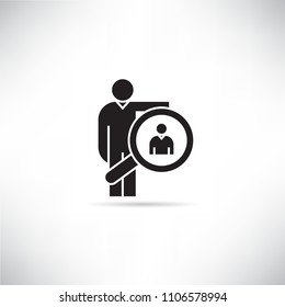 business man and magnifier icon, recruiting concept