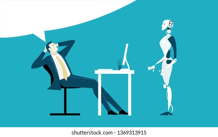 Business man making an orders to the robot, personal assistant. Business and working together concept illustration.
