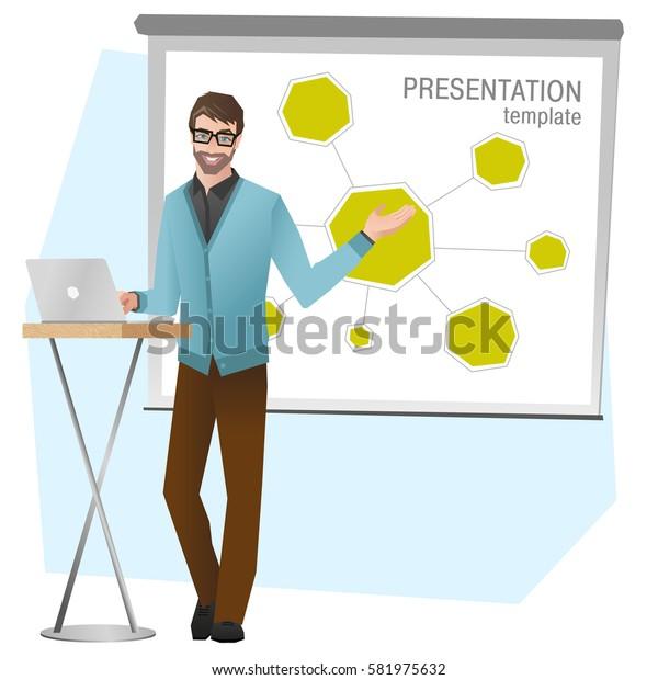 Business man making a presentation. Business team training. Vector illustration