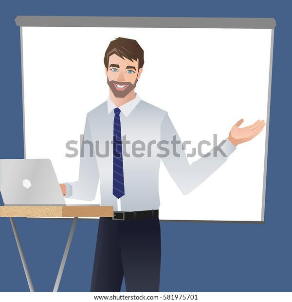 Business man making a presentation. Business team training. Vector illustration