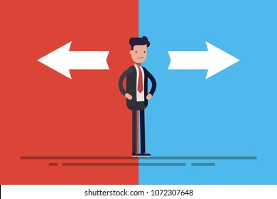 Business man or manager in doubt standing in front of two arrows on blue and red background. Concept flat vector illustration in cartoon style.