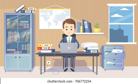 Business man manager in a suit working at his office desk. Vector clip art