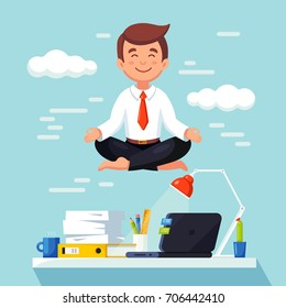 Business man meditating in lotus pose over table in office room. Boss doing yoga and get calm at workplace. Relax, meditation concept. Worker multitasking. Vector cartoon illustration. Flat design
