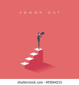 Business man with a megaphone as symbol for announcement, public speaking. Eps10 vector illustration.