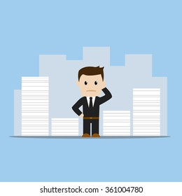 Business man with too much work, flat design, blue background vector illustration.