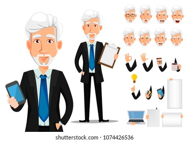 Business man in office style clothes with gray hair. Businessman cartoon character creation set, pack of body parts and emotions. Vector illustration on white background