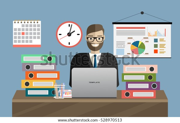 Business man with office things. Management concept. Office Working. Flat Vector Illustration