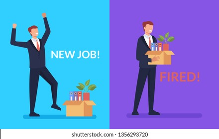 Business man office worker character find new job and lost. Being hired and fired concept. Vector design graphic flat cartoon isolated illustration