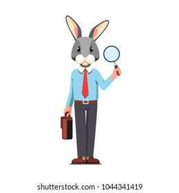 Business man or office worker with rabbit head holding magnifying glass & briefcase in hands. Animal researcher character. Staff recruitment or research job. Flat style isolated vector illustration