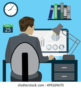 Business man or office worker sitting on a chair at the desk in the office,back view, flat design, cartoon stock vector illustration