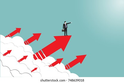 Business man on arrow to success. Concept business vector flat