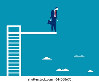 Business Man On Diving Board. Concept business vector illustration.