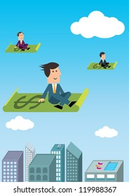business man on flying carpets of money