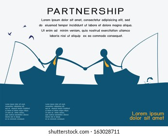 Business man on going fishing on the boat and shaking hands to each other in partnership and corporation concept. Abstract background with copy space and text for your own design.