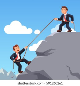 Business man on top of mountain helping colleague or friend climbing up with rope. Leadership, teamwork and partnership. Achieving goals & career development concept. Flat style vector illustration.