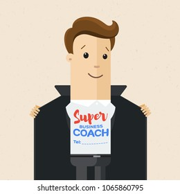 Business man opens his jacket to show T-shirt with text super coach on his chest . Business coach concept