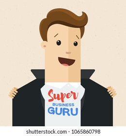 Business man opens his jacket to show T-shirt with text super guru on his chest . Business guru