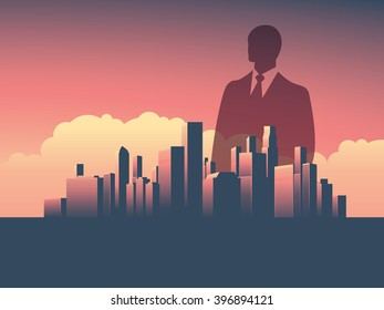 Business man over business corporate cityscape vector illustration. Double exposure style. Eps10 vector illustration.