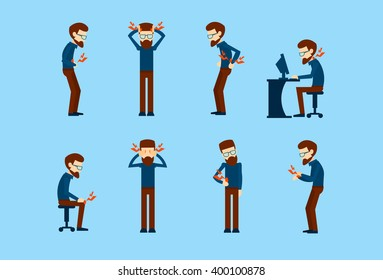 Business Man Pain Set Office Worker Syndrome Sick Collection Flat Vector Illustration