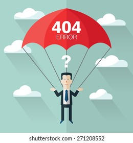 Business man with parachute. Page not found, 404 error. Concept of businessman fail