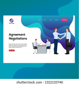 Business man partnership beginning. Businessman partners shaking hands after signing contract agreement closing deal sitting at negotiations table. Flat style cartoon vector isolated illustration