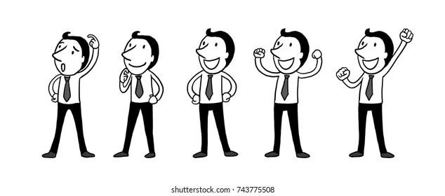 business man people character design set. Vector design. isolated vector illustration outline hand drawn doodle line art cartoon design character.