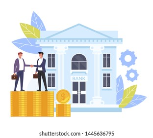 Business man people characters shaking hands. Banking deal contract concept. Vector flat cartoon graphic design isolated illustration