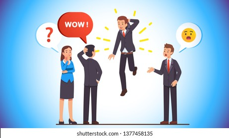 Business man picking himself up and lifting holding by the collar to amazement & surprise of puzzled business people crowd. Self motivation rising concept. Flat vector character illustration