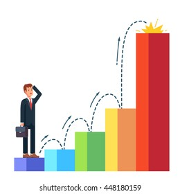 Business man planning his career growth. Standing in the beginning of bar chart graph on the first column and looking ahead toward future success. Flat style vector illustration.