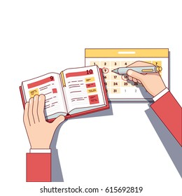 Business man planning his day schedule in diary book & appointment calendar. Making marks with his pen. Modern flat style thin line top view vector illustration isolated on white background.