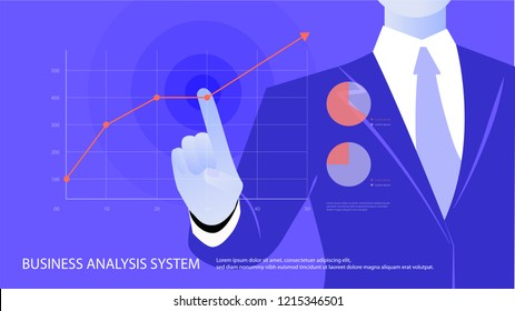 Business Man Point Finger To Red Arrow Up Financial Success Concept Flat Vector Illustration. Profit growing concept.