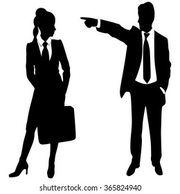 business man pointing at woman