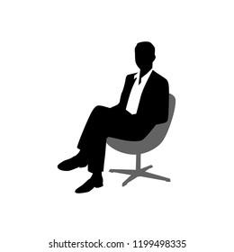 Business Man Pose Male Sit Down
