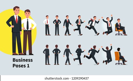 Business man poses and actions set. Front and back views of business person collection. Businessman standing, walking, running, celebrating success, sitting in office chair. Flat vector illustration
