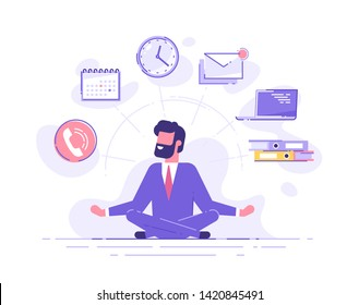 Business man practicing mindfulness meditation with office icons on the background. Multitasking and time management concept. Vector illustration.