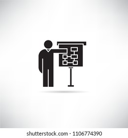 business man present with diagram on whiteboard icon