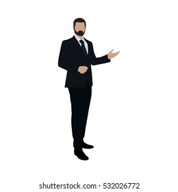 Business man at presentation. Flat vector illustration