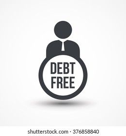 Business man presenting debt free concept flat icon