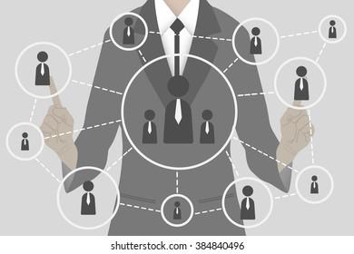 Business man presses button web communication interface touch