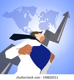 Business man pulling his t-shirt open, showing superhero suit with arrow and world map