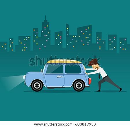 vetor stock de business man pushing car car losing livre de