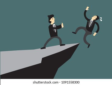 Business man pushing his competitor off the cliff. Concept of competition, sabotage and danger of the corporate business world. Vector cartoon illustration.