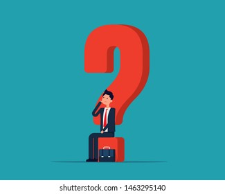 Business man puzzled and contemplating. Vector illustration uncertainty concept, Thinking, Questions, Flat cartoon character design.