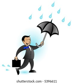 Business man in the rain with an umbrella,Vector.