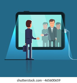 Business man reaching through the glass to shake hands with group of partners on conference video call via huge tablet computer. Flat style concept vector illustration isolated on dark background.