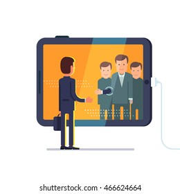 Business man reaching through the glass to shake hands with group of partners on conference video call via huge tablet computer. Flat style concept vector illustration isolated on white background.