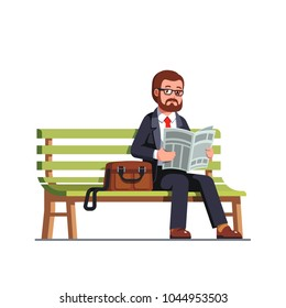 Business man reading newspaper sitting on a bench during work break. Business person holding paper tabloid consuming print media information. Relaxing business manager. Flat style vector illustration