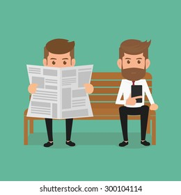 Business man reading newspaper and using smartphone. Cartoon Vector Illustration.