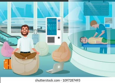 Business Man Relax in Massage Room. Airport Relax Zone for Yoga Recreation Meditation. Wellbeing Freelancer Travel Concept. Vector Illustration of Cartoon People Character.