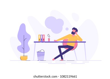 Business man is relaxing and dreaming about something at his work place. Modern office interior. Business concept. Vector illustration.